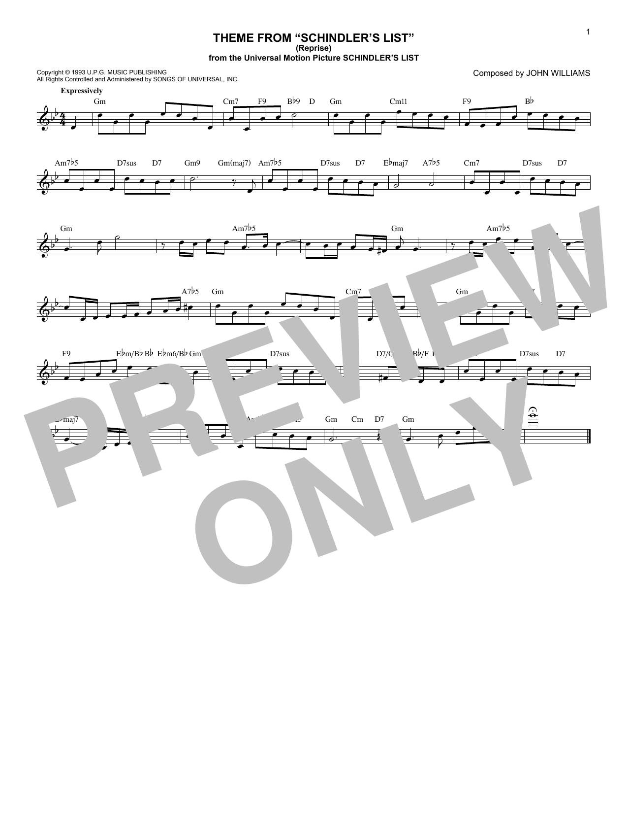 John Williams Theme From Schindler's List (Reprise) sheet music notes and chords. Download Printable PDF.