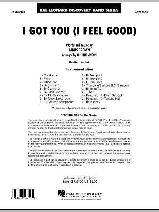 Johnnie Vinson I Got You (I Feel Good) - Full Score sheet music notes printable PDF score