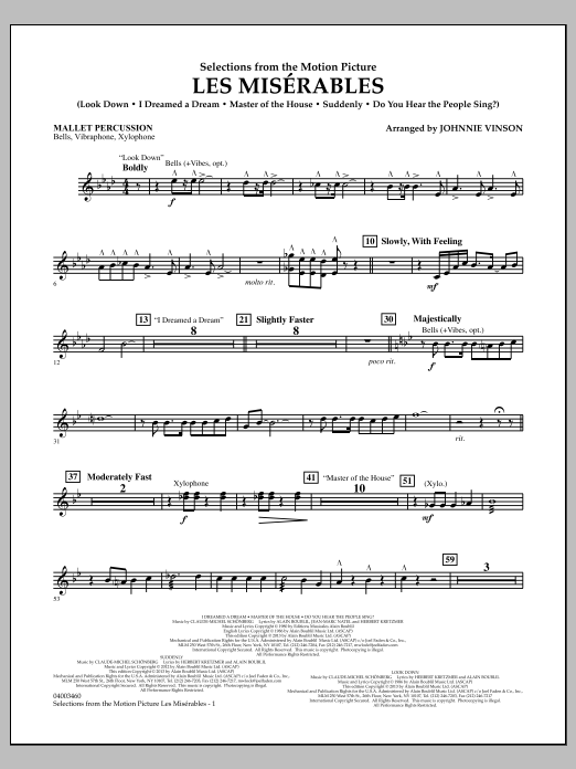 Johnnie Vinson Les Miserables (Selections from the Motion Picture) - Mallet Percussion sheet music notes and chords. Download Printable PDF.