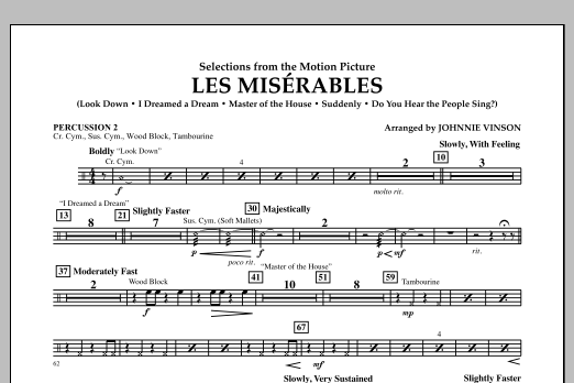 Johnnie Vinson Les Miserables (Selections from the Motion Picture) - Percussion 2 sheet music notes and chords. Download Printable PDF.