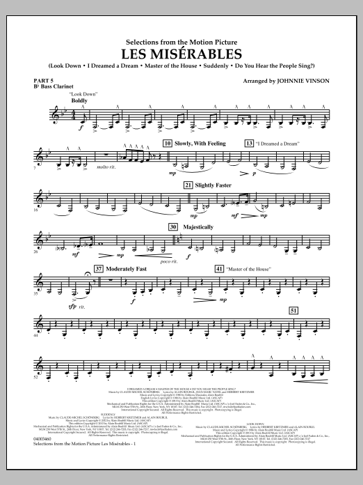 Johnnie Vinson Les Miserables (Selections from the Motion Picture) - Pt.5 - Bb Bass Clarinet sheet music notes and chords. Download Printable PDF.
