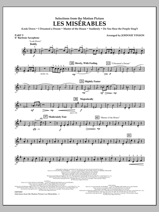 Johnnie Vinson Les Miserables (Selections from the Motion Picture) - Pt.5 - Eb Baritone Saxophone sheet music notes and chords. Download Printable PDF.