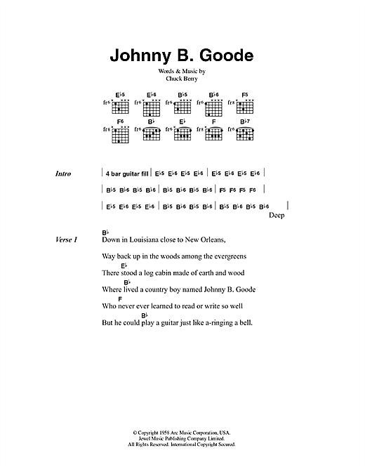 Chuck Berry Johnny B. Goode sheet music notes printable PDF score