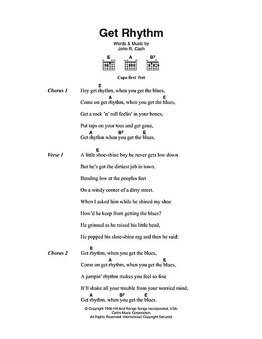 Johnny Cash Get Rhythm sheet music notes printable PDF score