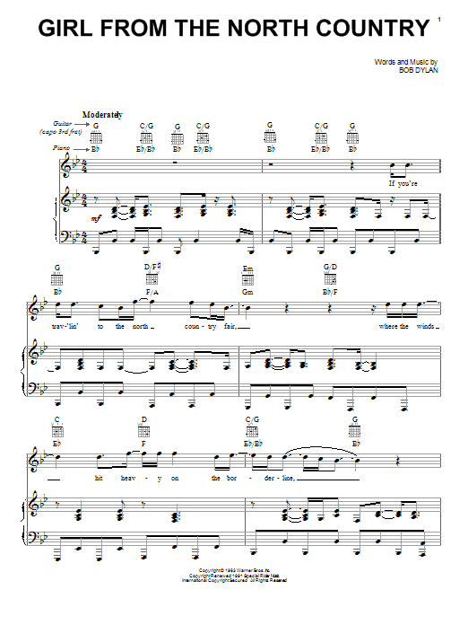 Johnny Cash Girl From The North Country sheet music notes printable PDF score
