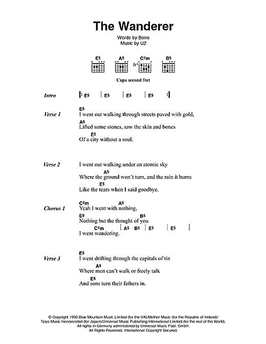 U2 & Johnny Cash The Wanderer sheet music notes printable PDF score