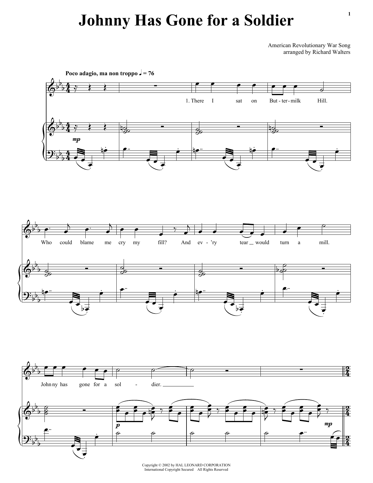 Traditional Johnny Has Gone For A Soldier sheet music notes printable PDF score
