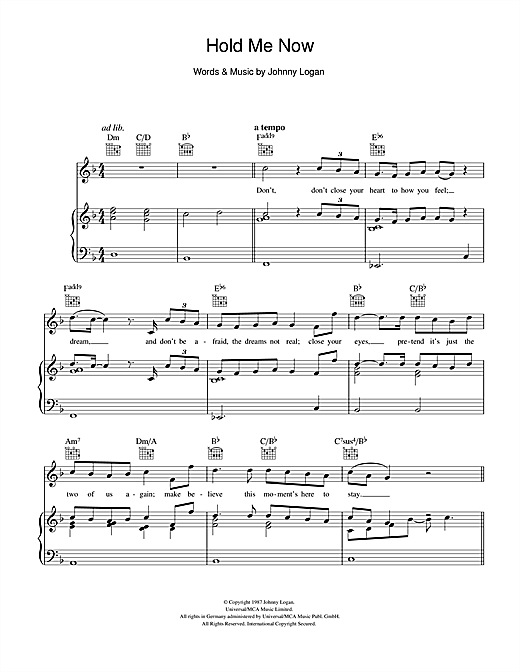 Johnny Logan Hold Me Now sheet music notes and chords. Download Printable PDF.