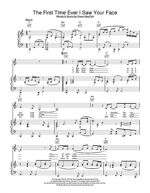 Johnny Mathis The First Time Ever I Saw Your Face sheet music notes printable PDF score
