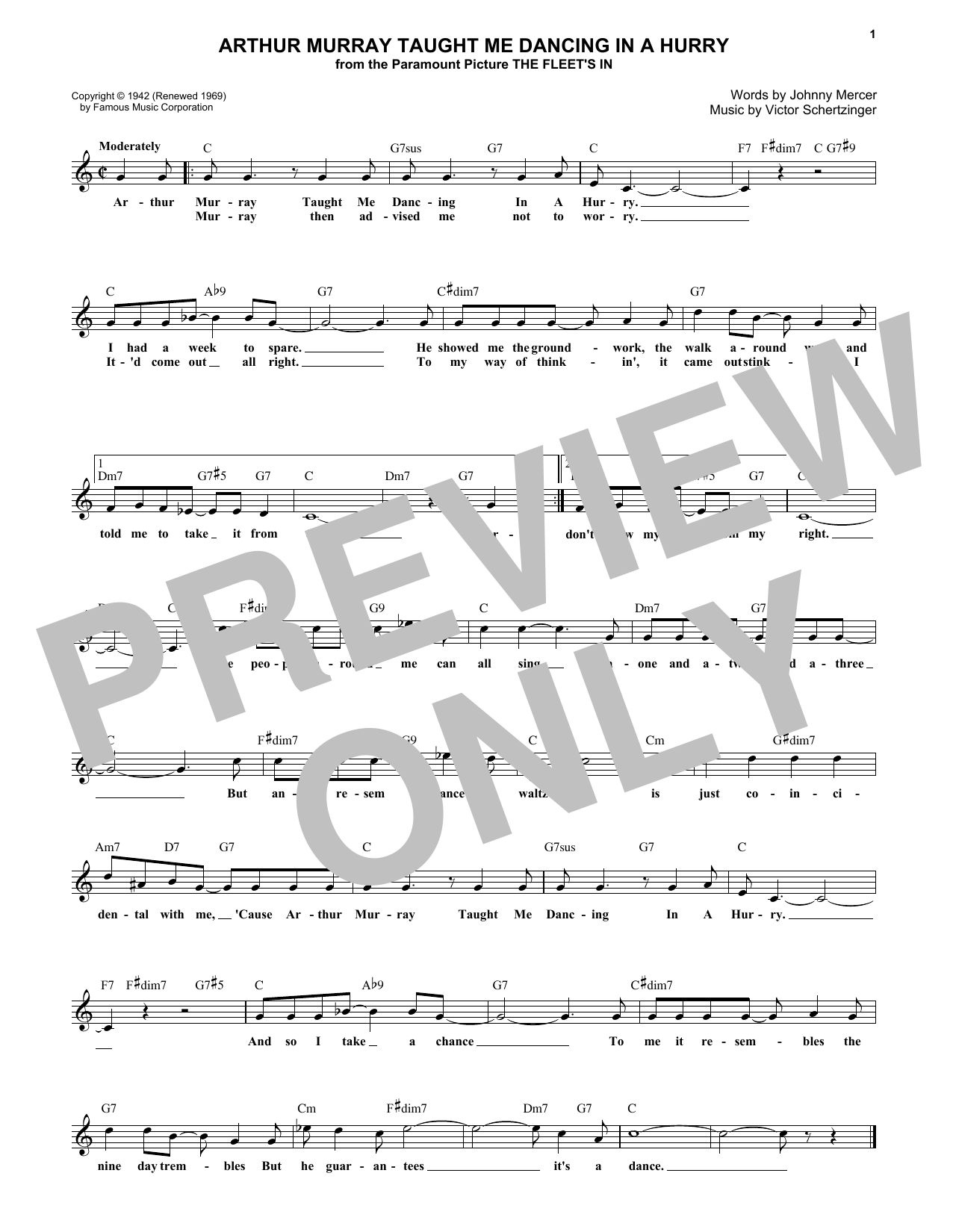 Johnny Mercer Arthur Murray Taught Me Dancing In A Hurry sheet music notes and chords. Download Printable PDF.