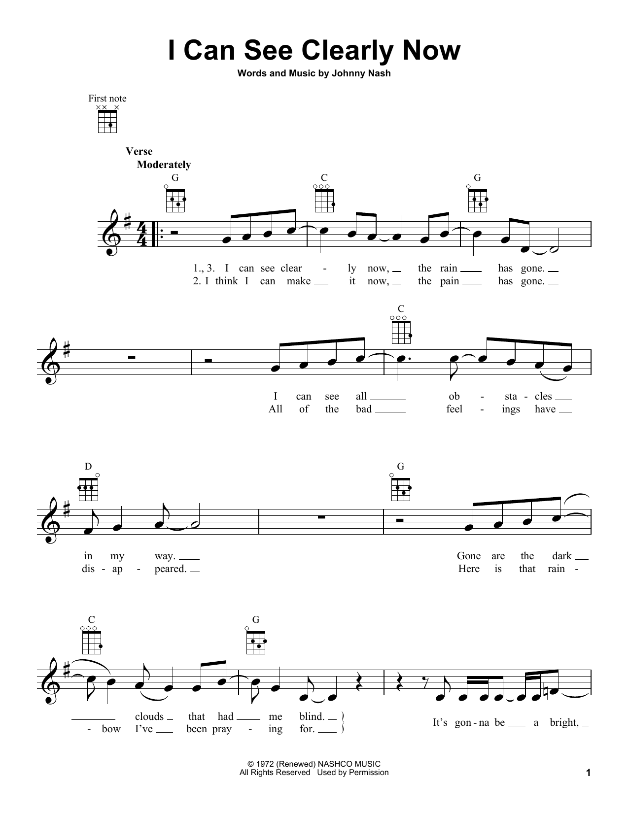 Johnny Nash I Can See Clearly Now sheet music notes printable PDF score