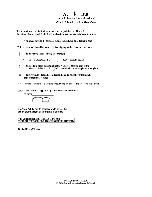 Jonathan Cole tss-k-haa (for baritone & balloon) sheet music notes printable PDF score
