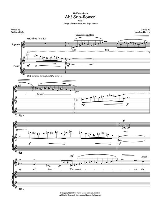 Jonathan Harvey Ah! Sun-flower (for soprano & piano) sheet music notes printable PDF score