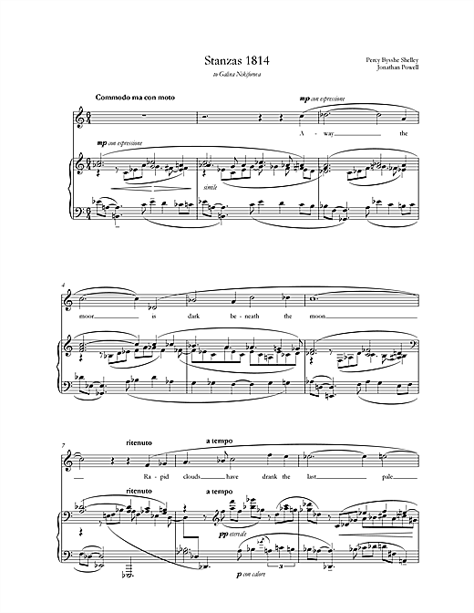 Jonathan Powell Stanzas 1814 (for mezzo-soprano & piano) sheet music notes printable PDF score