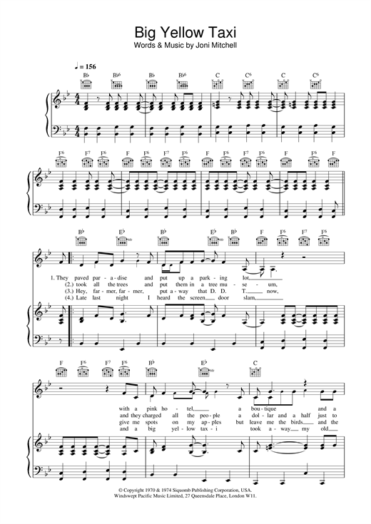 Joni Mitchell Big Yellow Taxi sheet music notes and chords. Download Printable PDF.