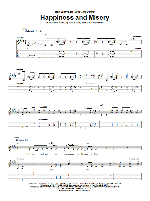 Jonny Lang Happiness And Misery sheet music notes and chords. Download Printable PDF.