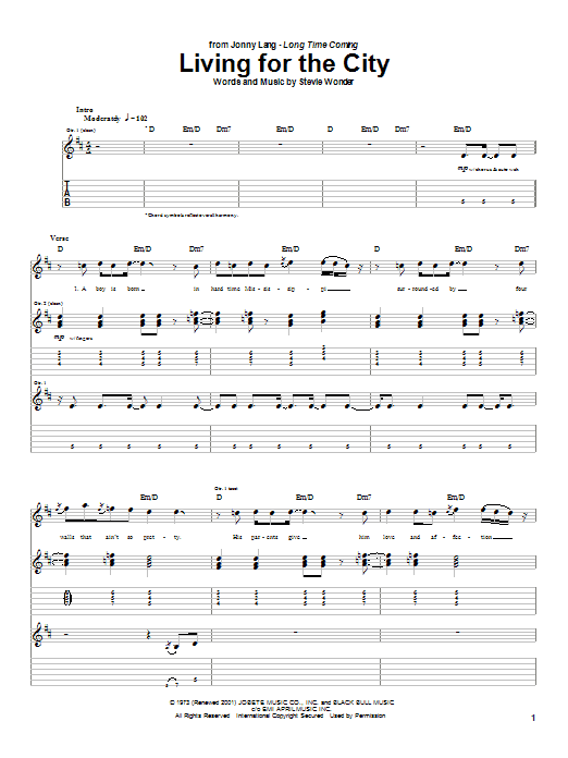 Jonny Lang Living For The City sheet music notes and chords. Download Printable PDF.