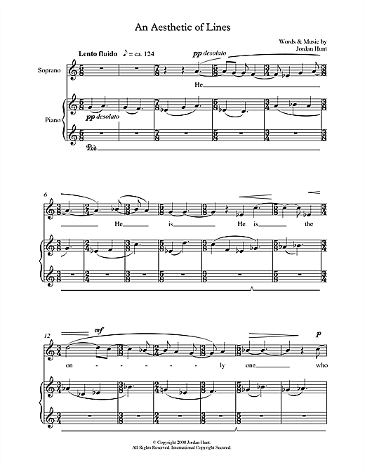 Jordan Hunt An Aesthetic of Lines (for soprano & piano) sheet music notes printable PDF score