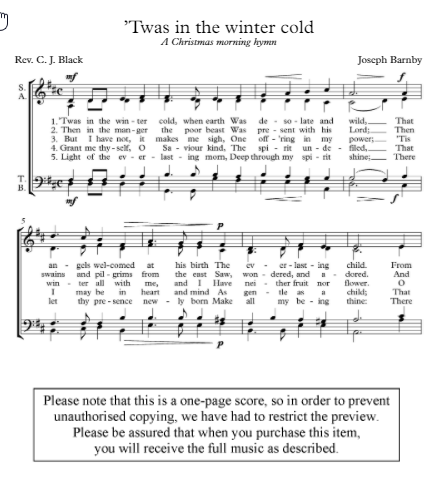 Joseph Barnby 'Twas In The Winter Cold Sheet Music and Printable PDF Score | SKU 123286