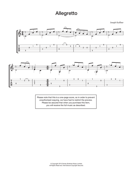 Joseph Kuffner Allegretto sheet music notes and chords. Download Printable PDF.