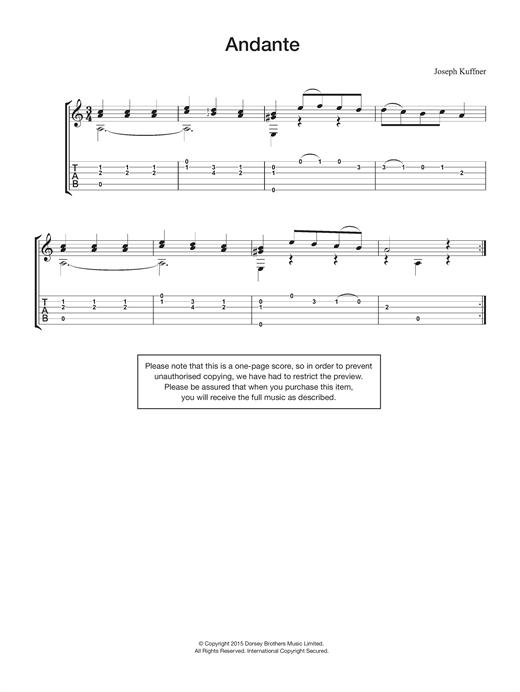 Joseph Kuffner Andante sheet music notes and chords. Download Printable PDF.