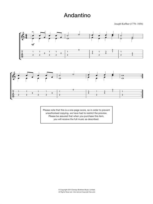 Joseph Kuffner Andantino sheet music notes and chords. Download Printable PDF.