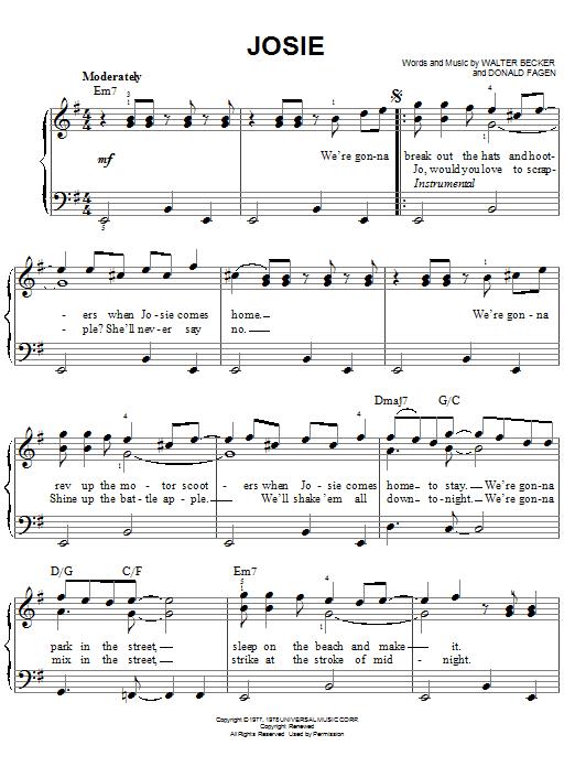 Steely Dan Josie sheet music notes printable PDF score