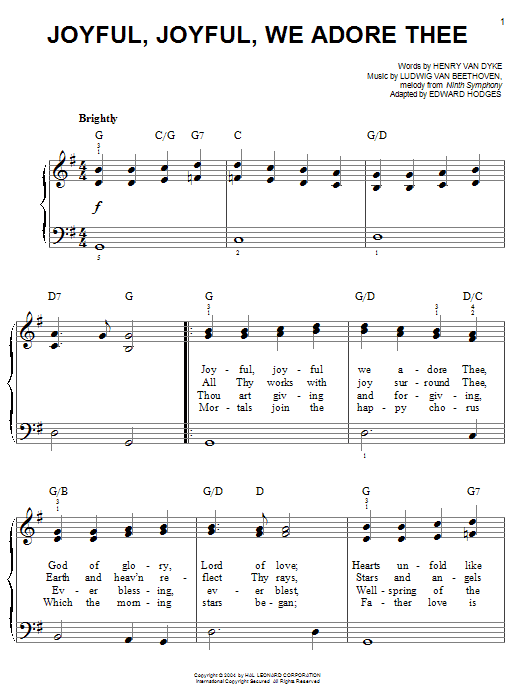 Ludwig van Beethoven Joyful, Joyful, We Adore Thee sheet music notes printable PDF score