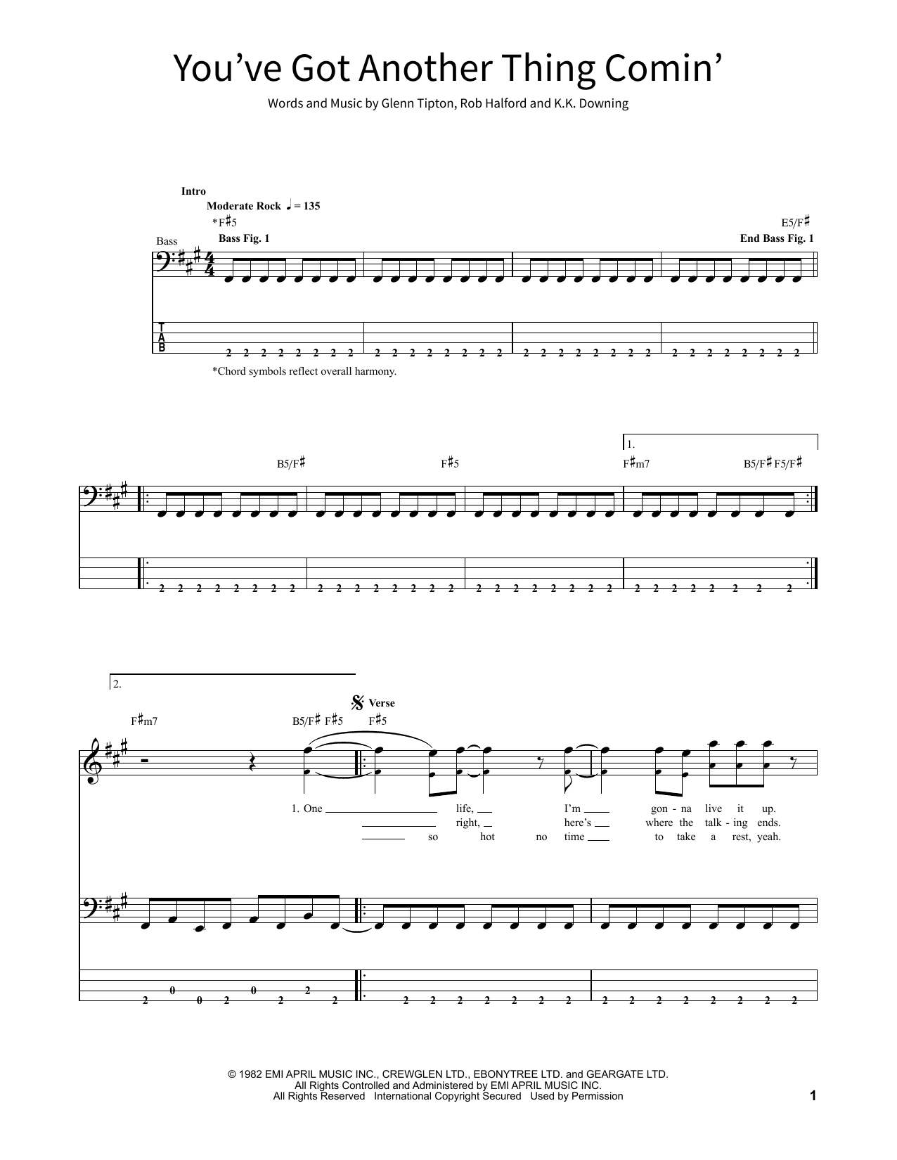 Judas Priest You've Got Another Thing Coming sheet music notes and chords. Download Printable PDF.