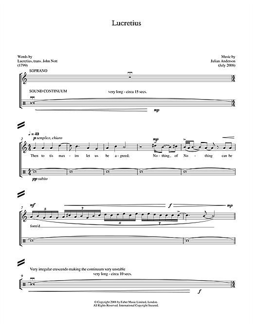 Julian Anderson Lucretius (for soprano & percussion) sheet music notes printable PDF score