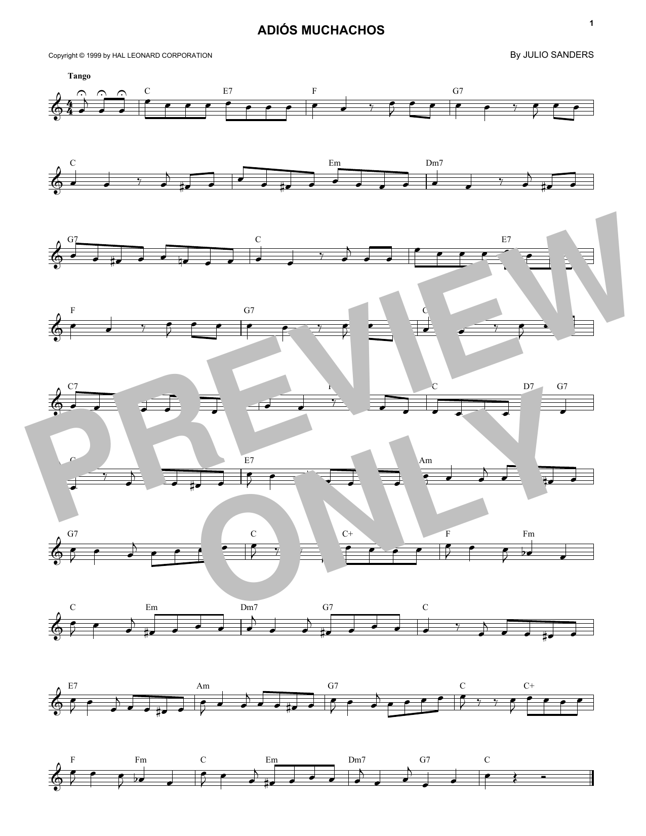 Julio Sanders Adios Muchachos sheet music notes and chords. Download Printable PDF.