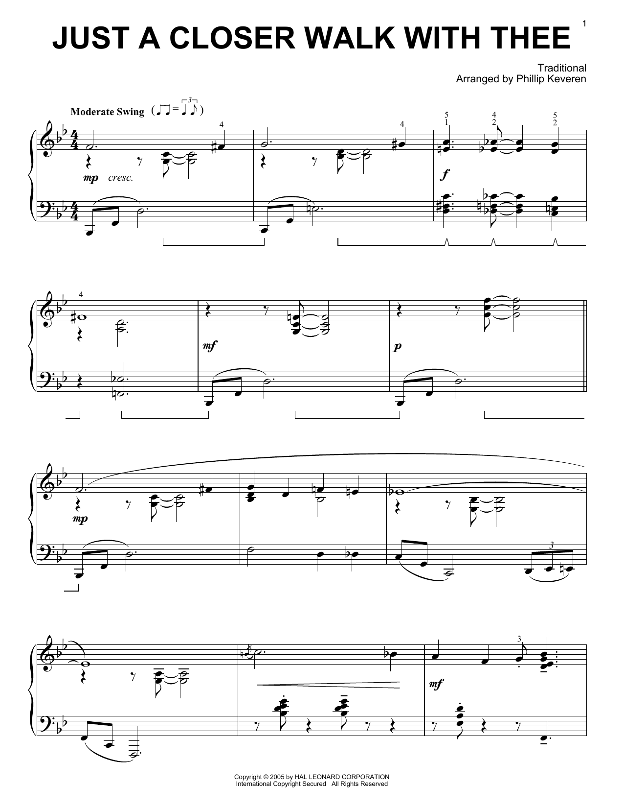 Traditional Just A Closer Walk With Thee [Jazz version] (arr. Phillip Keveren) sheet music notes printable PDF score