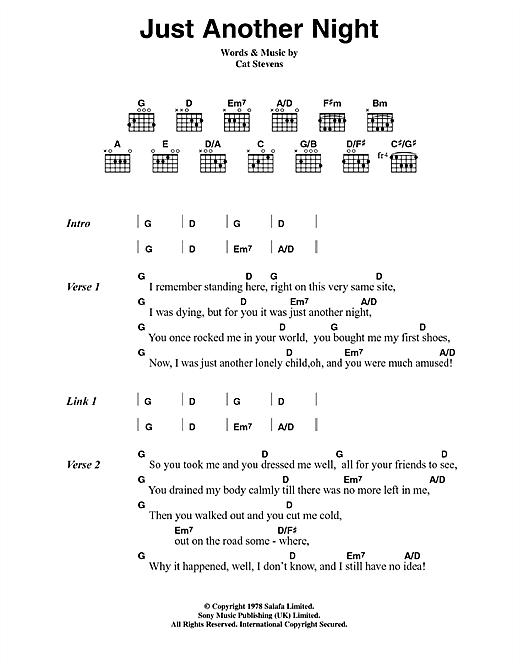 Cat Stevens Just Another Night sheet music notes printable PDF score