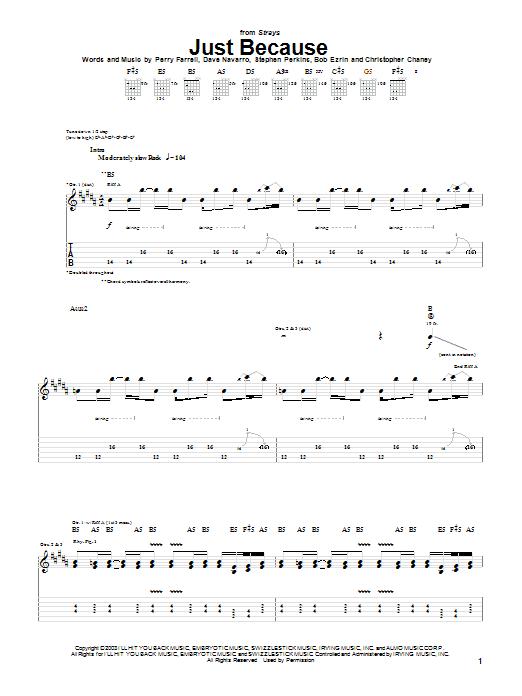 Jane's Addiction Just Because sheet music notes printable PDF score