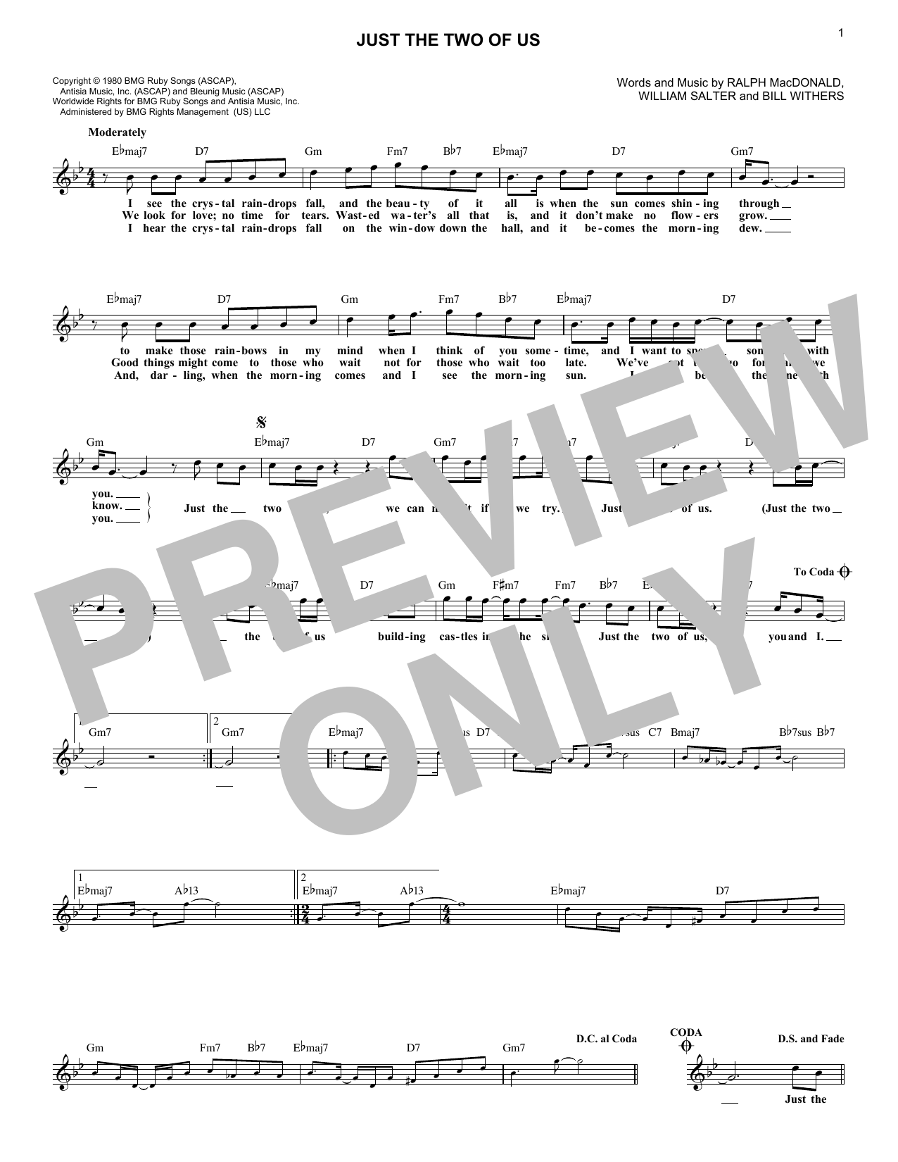 Grover Washington Jr. Just The Two Of Us sheet music notes printable PDF score