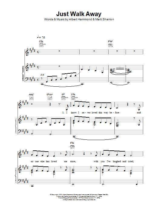 Celine Dion Just Walk Away sheet music notes printable PDF score