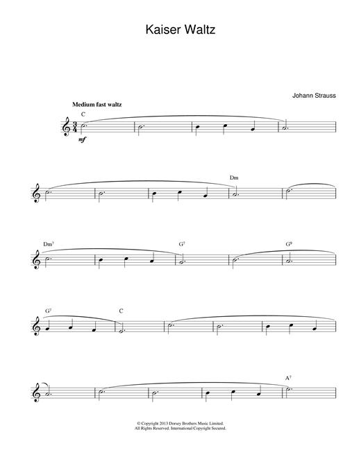 Johann Strauss II Kaiser Waltz sheet music notes printable PDF score