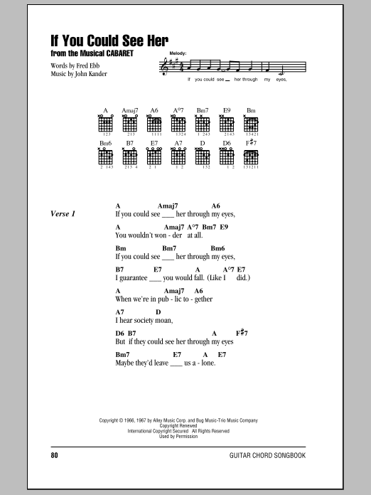 Joel Grey If You Could See Her (from Cabaret) sheet music notes and chords. Download Printable PDF.