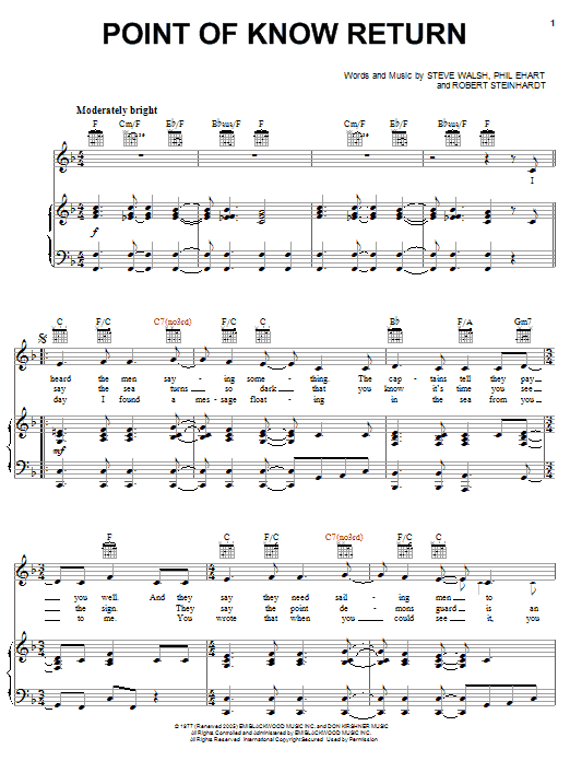 Kansas Point Of Know Return sheet music notes and chords. Download Printable PDF.