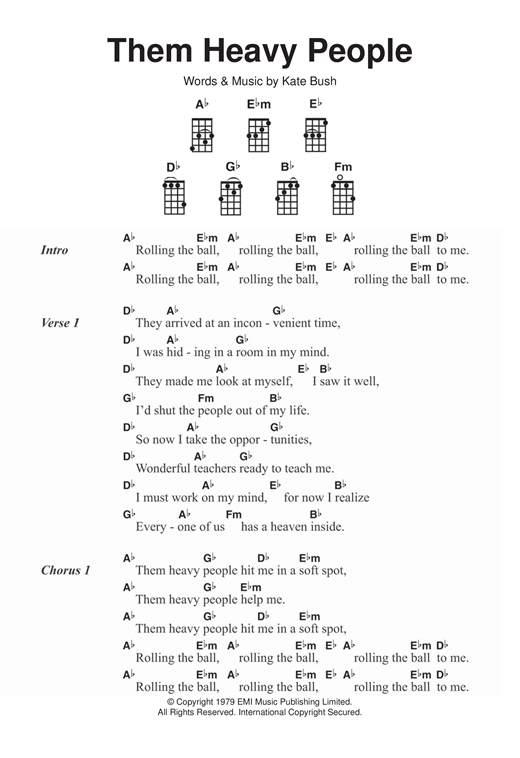 Kate Bush Them Heavy People sheet music notes and chords. Download Printable PDF.