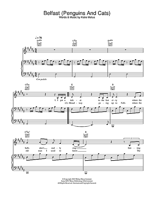 Katie Melua Belfast (Penguins And Cats) sheet music notes and chords. Download Printable PDF.