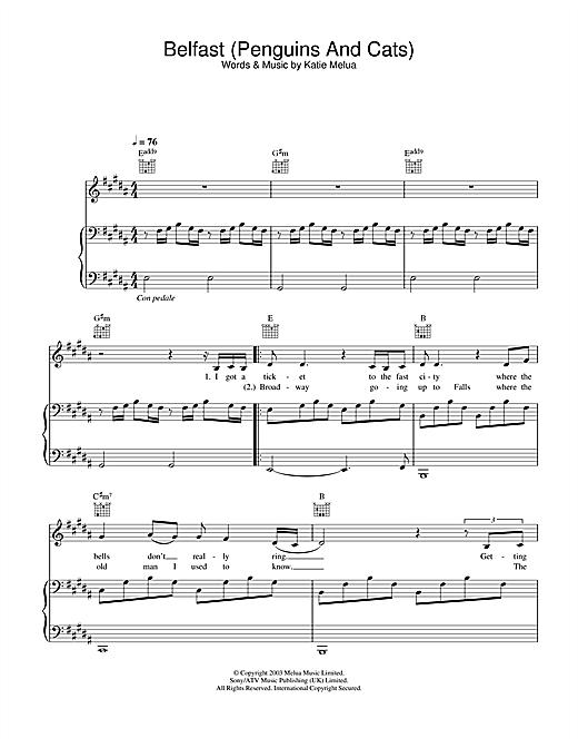 Katie Melua Belfast (Penguins And Cats) sheet music notes printable PDF score