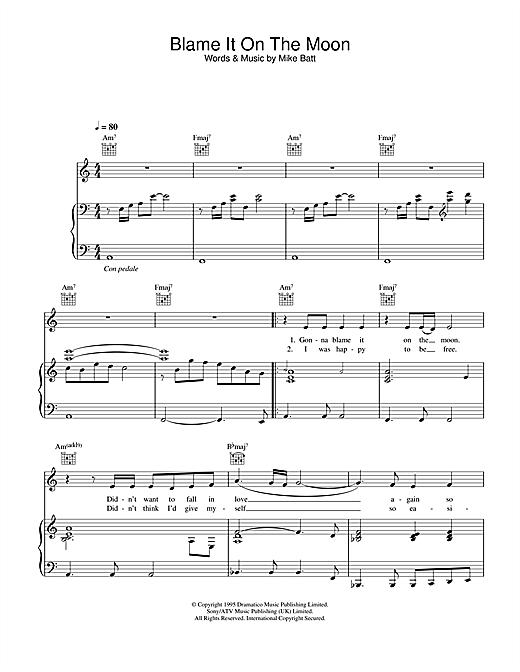 Katie Melua Blame It On The Moon sheet music notes printable PDF score