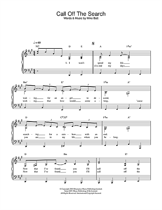 Katie Melua Call Off The Search sheet music notes printable PDF score