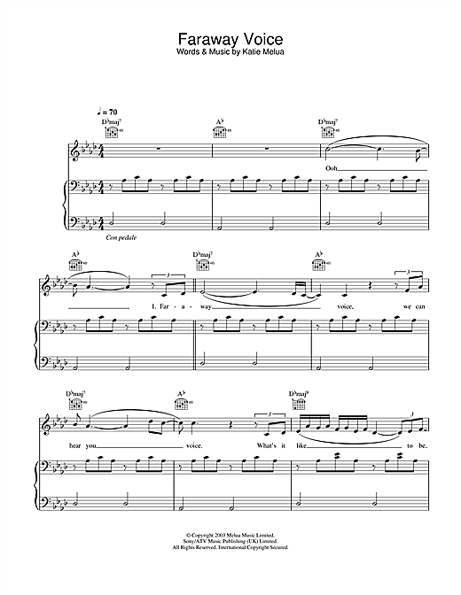 Katie Melua Faraway Voice sheet music notes and chords. Download Printable PDF.