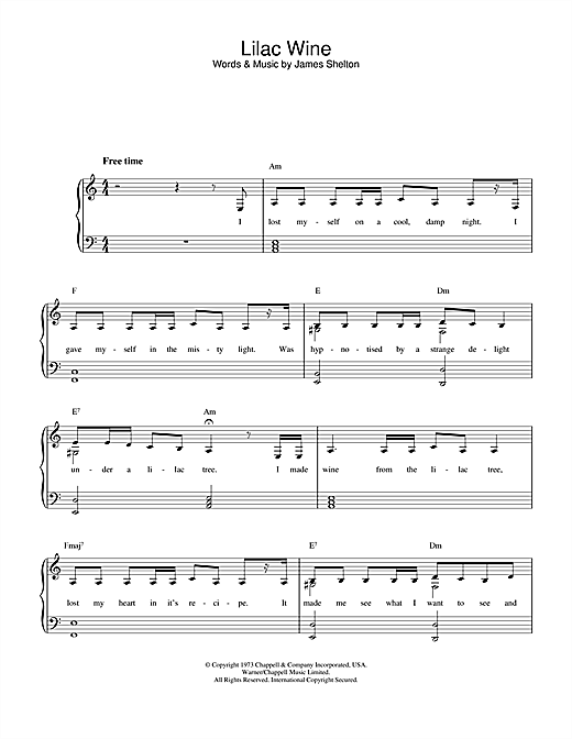 Katie Melua Lilac Wine sheet music notes printable PDF score