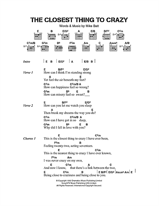 Katie Melua The Closest Thing To Crazy sheet music notes and chords. Download Printable PDF.