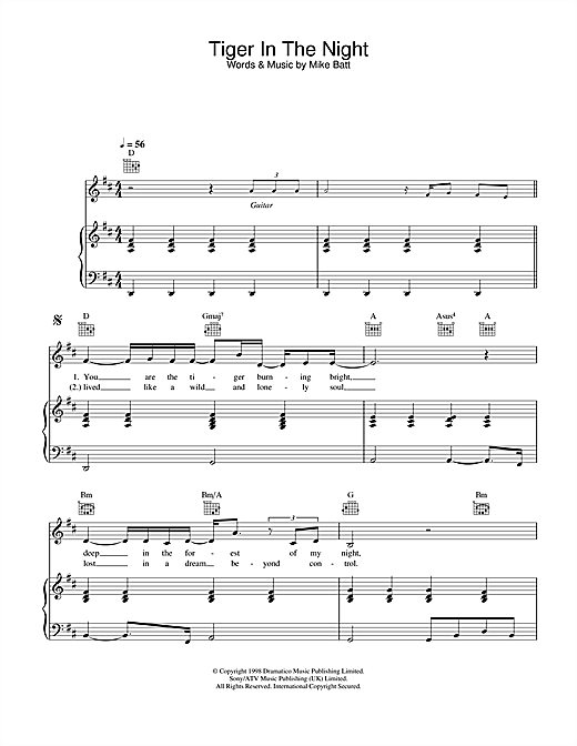 Katie Melua Tiger In The Night sheet music notes and chords. Download Printable PDF.