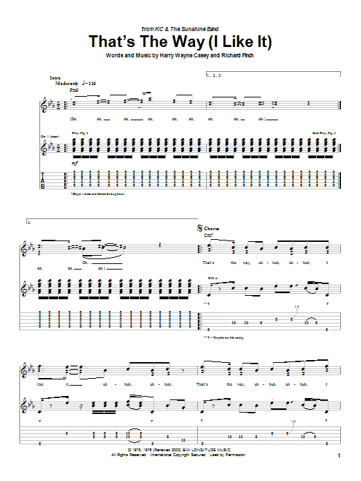 KC & The Sunshine Band That's The Way (I Like It) sheet music notes and chords. Download Printable PDF.