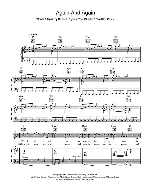 Keane Again And Again sheet music notes printable PDF score